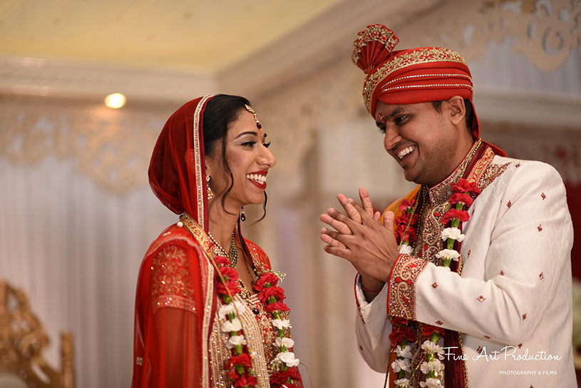 Happy indian couple after the wedding ceremony