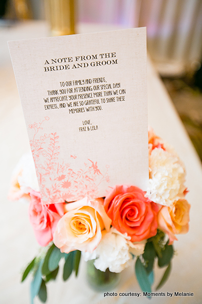 Note from bride and groom