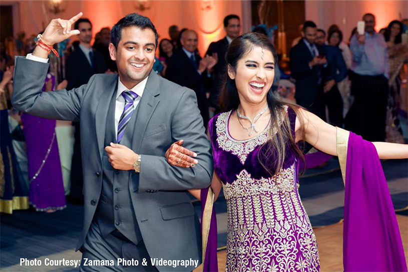 Newly Weds Indian Couple Dancing at Reception Ceremony
