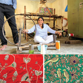 Devam's handloom silks are then transformed into lenghas, saris, and scarves