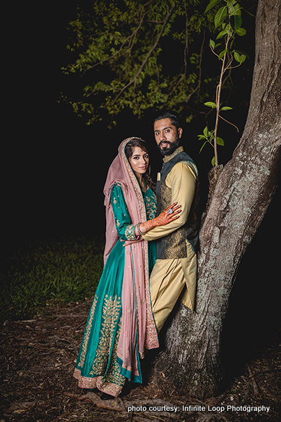 Indian Bride and Groom Possing for Outdoor Photoshoot in Sangeet Outfit