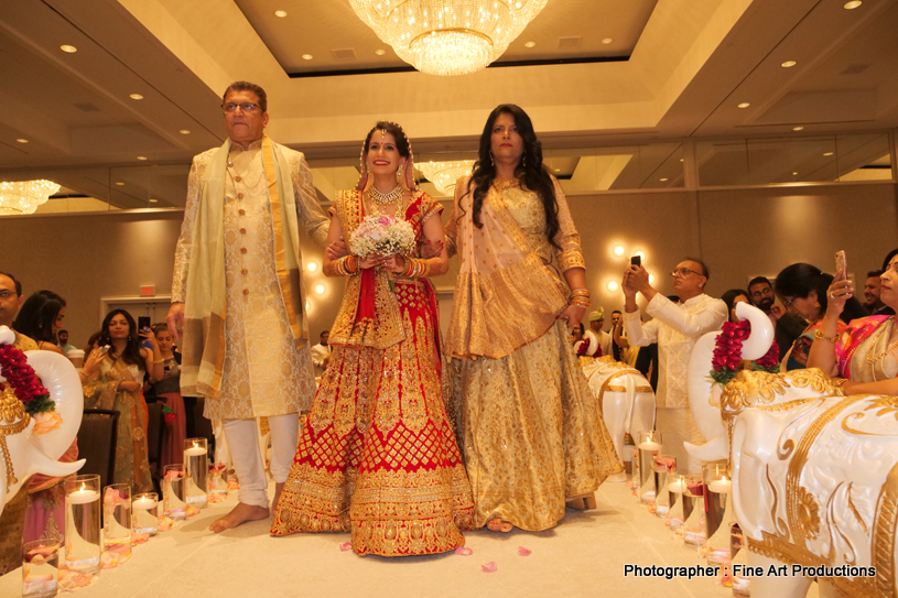 Indian Bride arriving with her parents