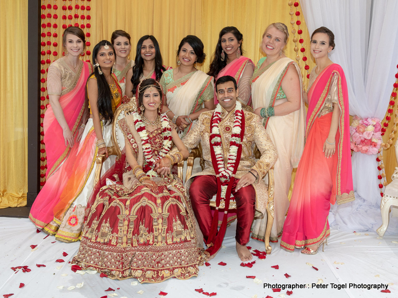Indian Couple With the Brides's Maids