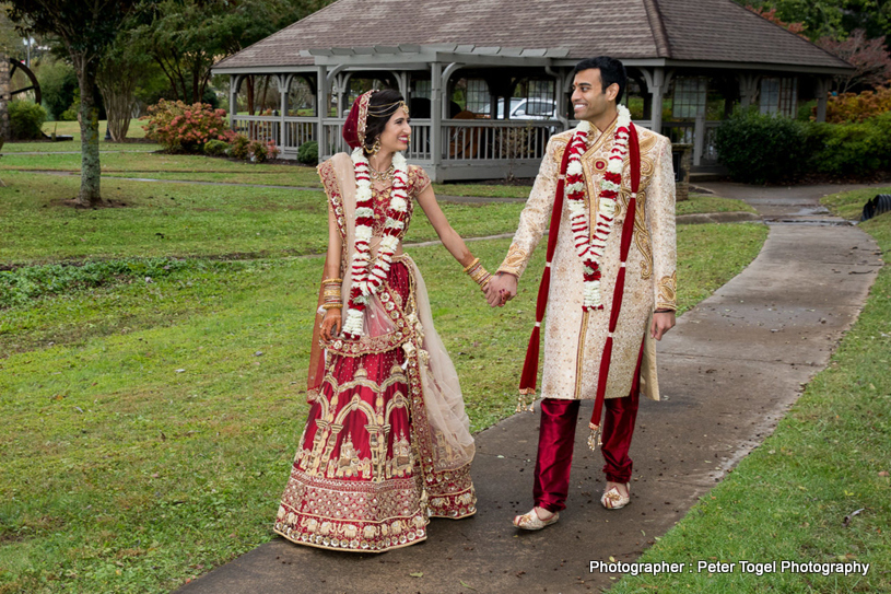 Flawless Indian Couple Posing Outdoors