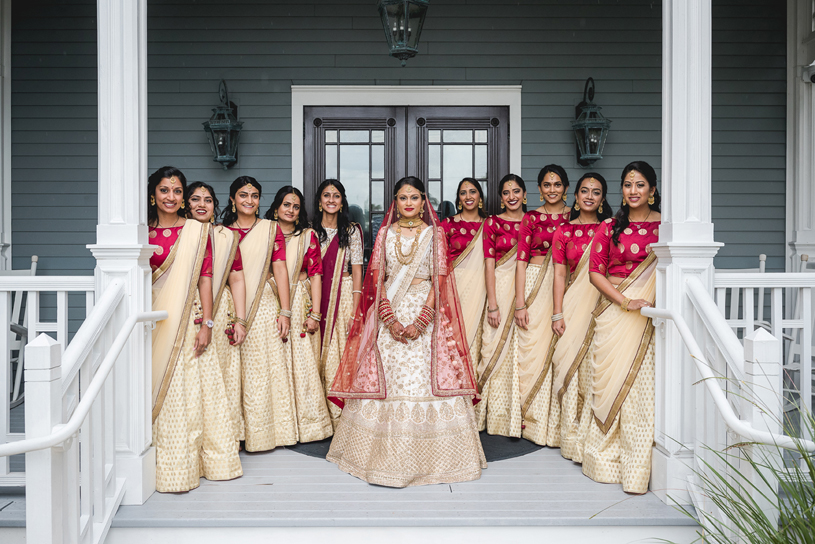 Indian Bride with the bridesmaids