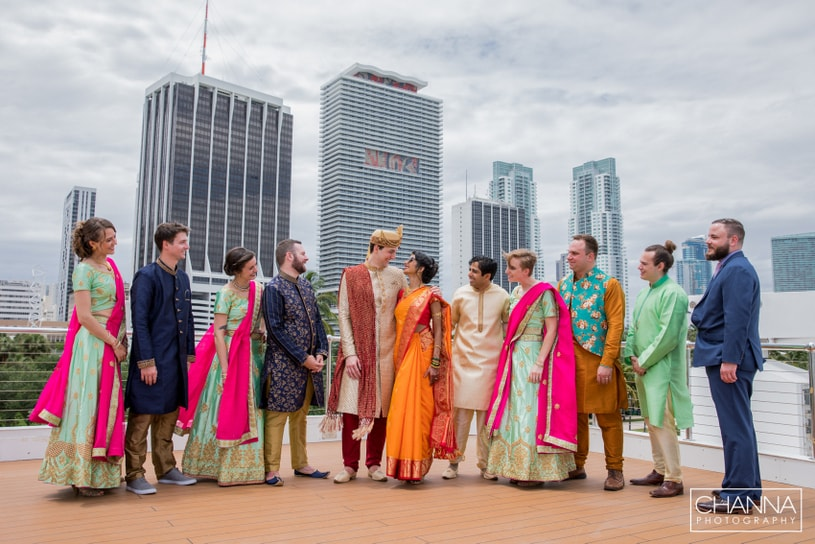 Indian Bride and Groom with bridesmaids and groomsmen capture