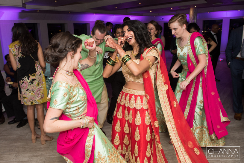 Indian Bride dance with bridesmaid