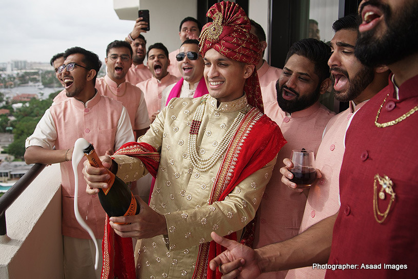 Groom with his friends enjoying at the wedding