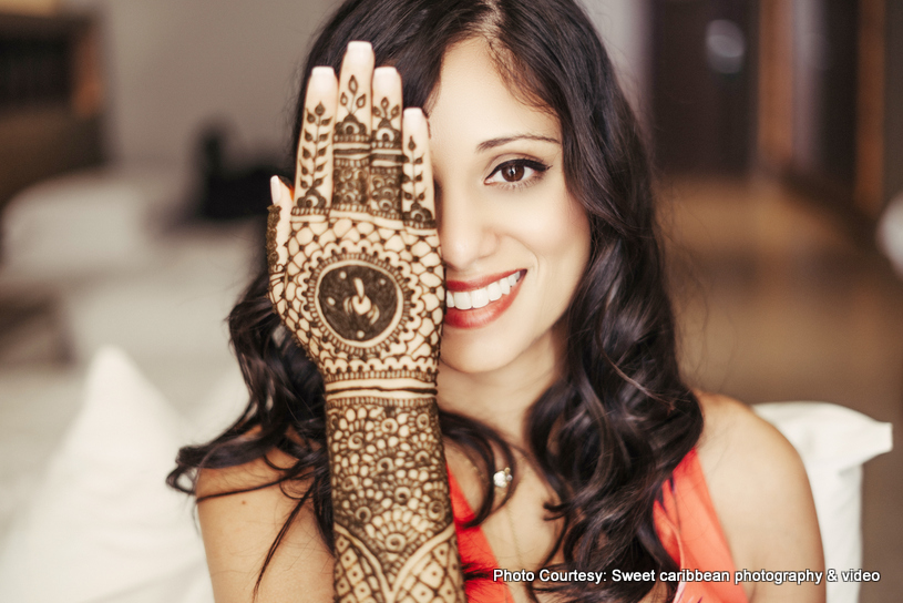 Mehndi Pose by Indian Bride