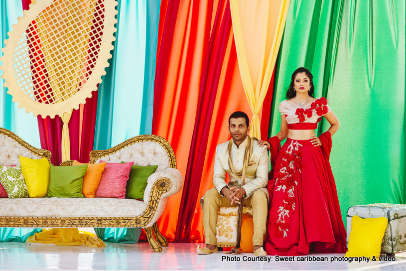 Indian Couple posing at the pre wedding function