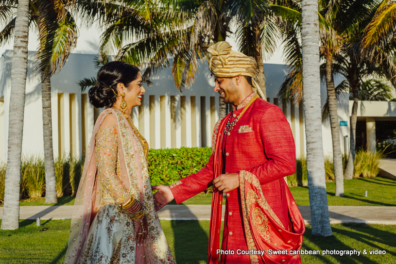 Indian Couple Posing Before the wedding ceremony