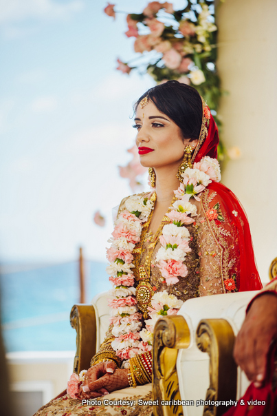 Indian bride posing at the ceremony