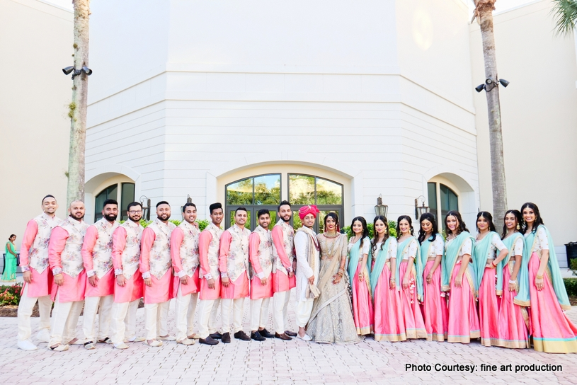 Indian Bride and Groom with Bridesmaids and Groomsmen