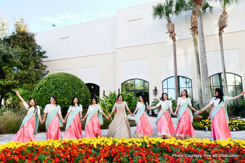 Indian Bride with Bridesmaids enjoying moment
