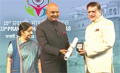 One of the prestigious awardees of the 2019 Pravasi Bharatiya Samman Award
