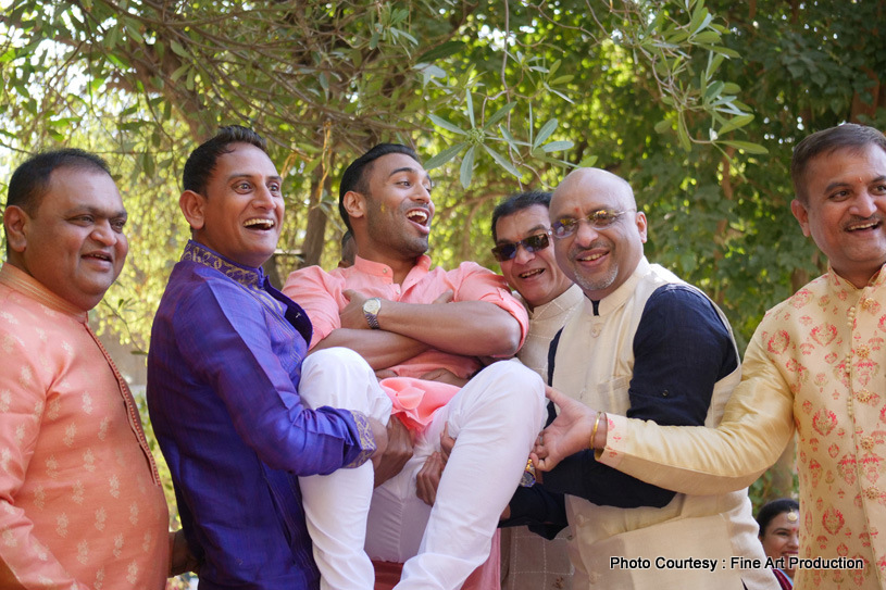 Indian groom Having Fun with family