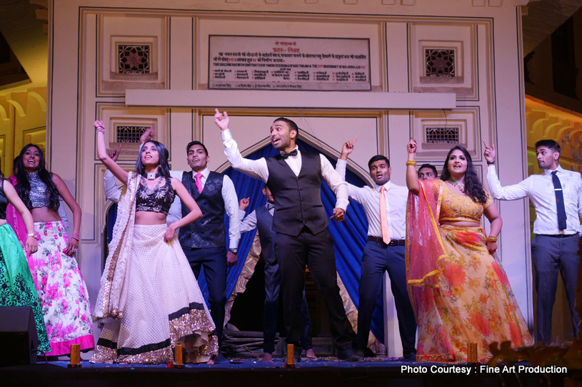Friends Dancing at indian sangeet