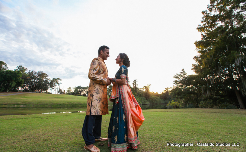 Indian Bride and Groom looking to each other