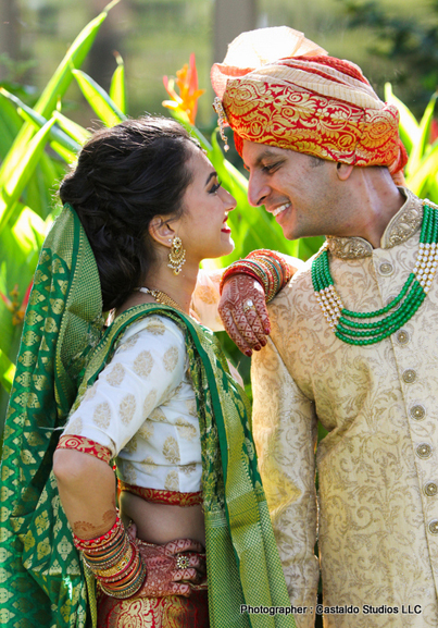Indian Bride and Groom Looking to eachother with love