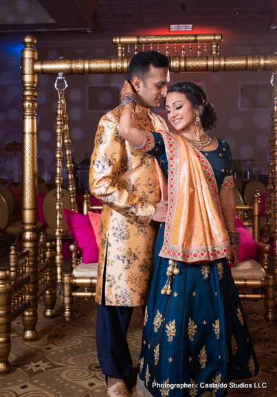 Indian Bride and Groom Ready for Pre wedding Ceremony Sangeet