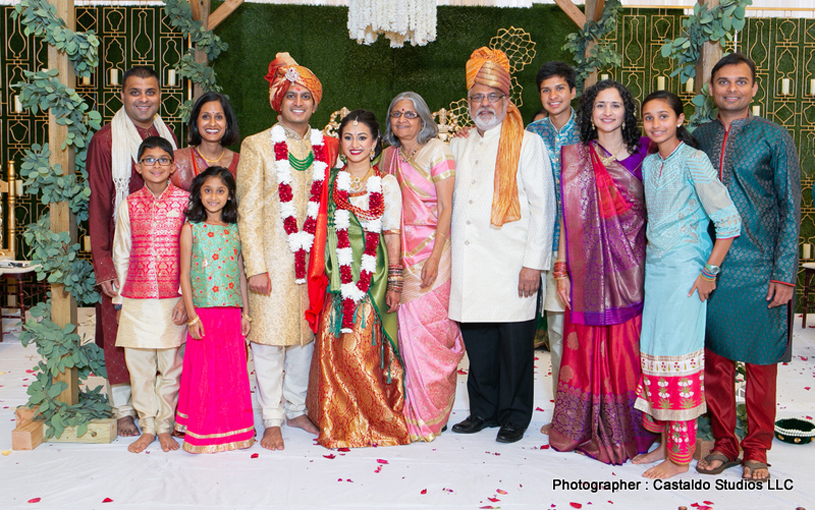 Indian Bride and Groom with Managing Director of Deshvidesh Magazine Raj Shah and Aruna Shah & Family