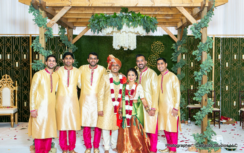 Indian Bride and Groom with Groomsmen Capture
