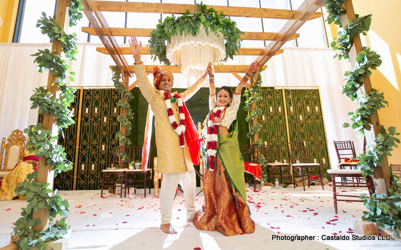 Indian Bride and Groom had Finished Wedding Ceremony