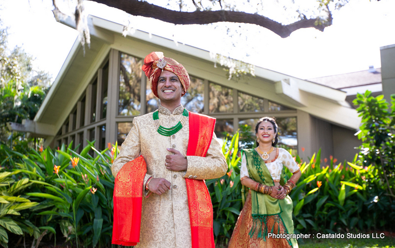 Indian Bride Going for First Look of Indian Groom