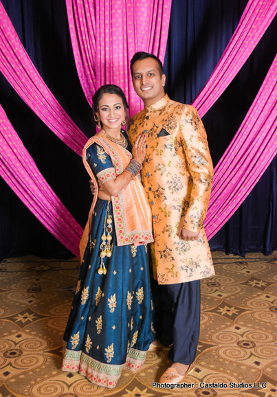 Indian Bride and Groom at their Sangeet Outfit