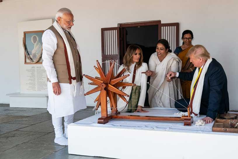 The Statesman Trump spins Mahatma Gandhi's Charkha at Sabarmati Ashram