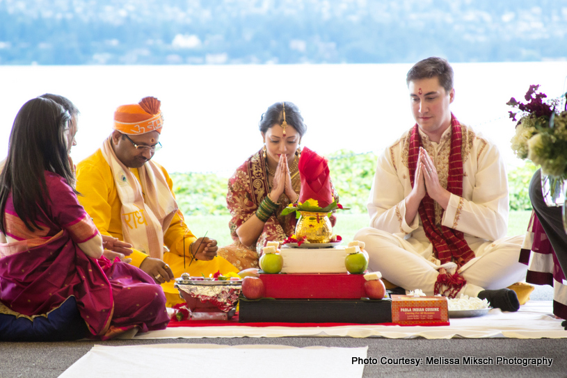 Indian Bride and Groom Performing Indian Wedding Ritual