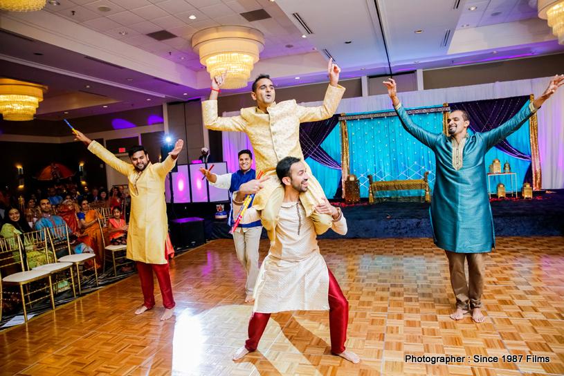Indian Groom dancing with Groomsmaids