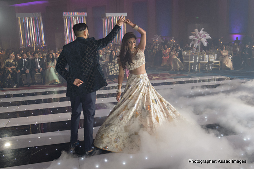 Indian Lovebirds dancing on Bollywood romantic song