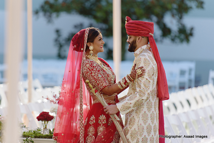 Indian Bride and groom First look