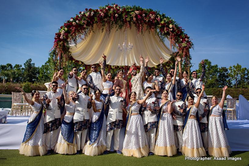 Indian Bride and Groom with Bridesmaid and Groomsmen Capture