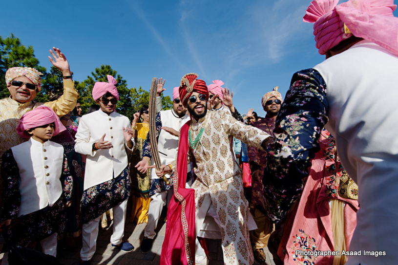 Indian Groom Dancing During His Baraat Procession