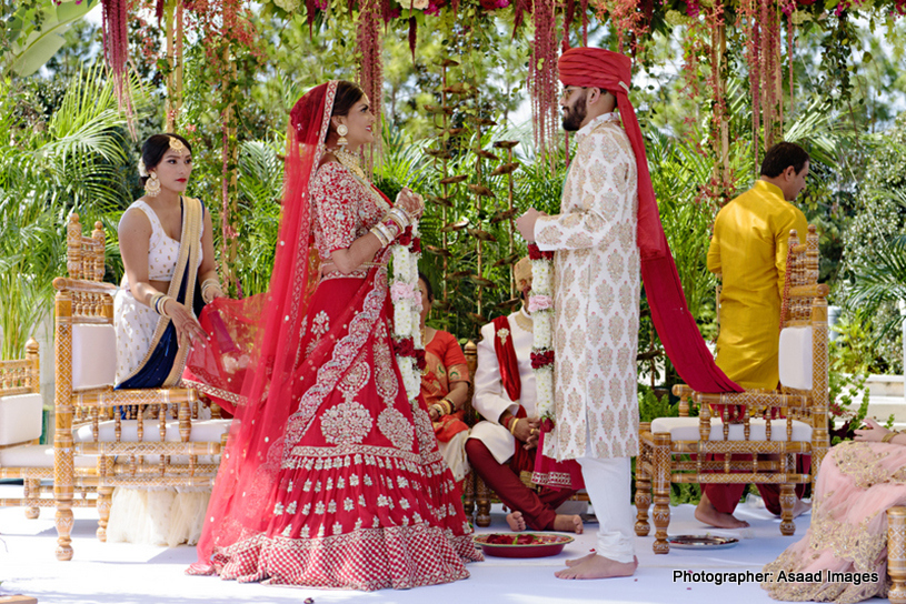 Indian Bride and Indian Groom doing Garland Ritual