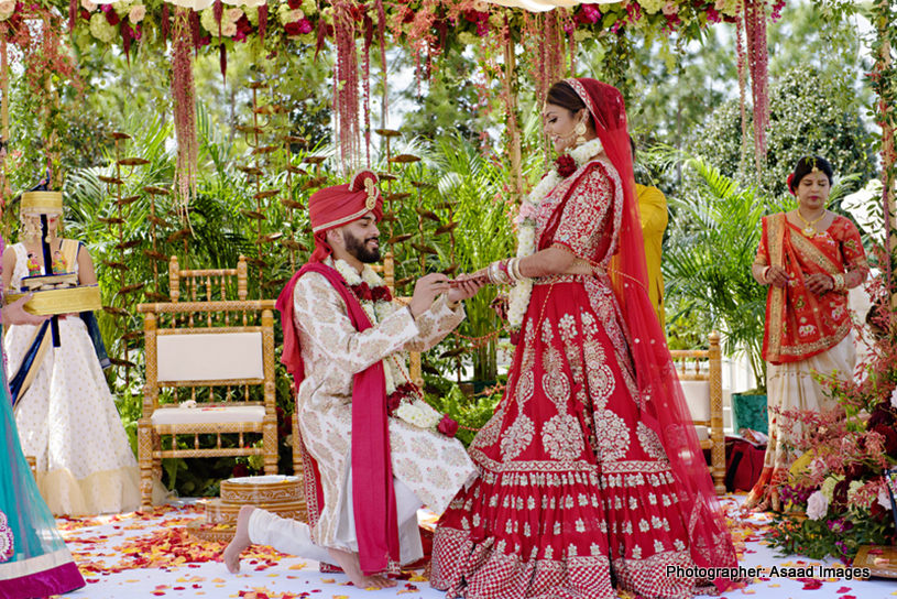 Indian Groom Putting wedding Ring in Indian Bride's Finger