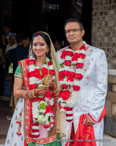 Indian Couple After Garland Exchange Ceremony