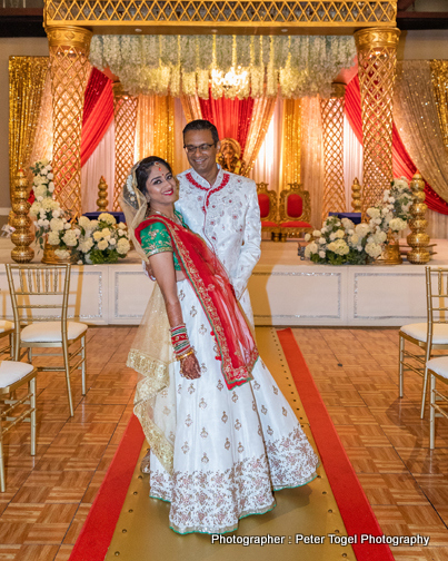 Indian Bride and Groom Under wedding Mandap