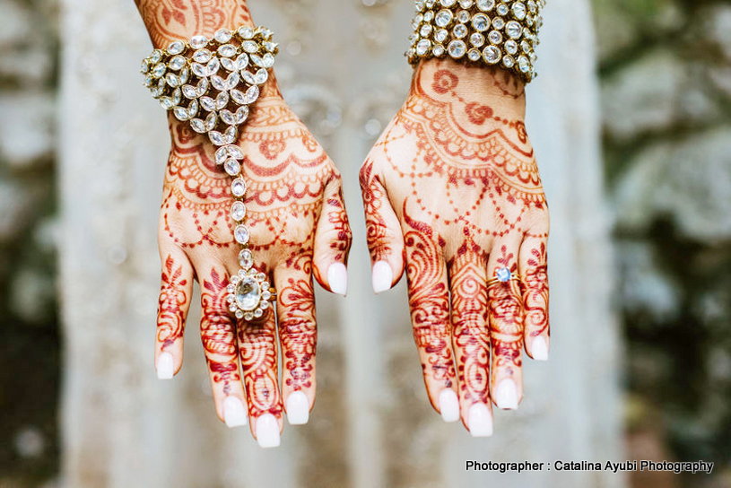 Indian Bride wearing Pocha (Ornaments for Hand)