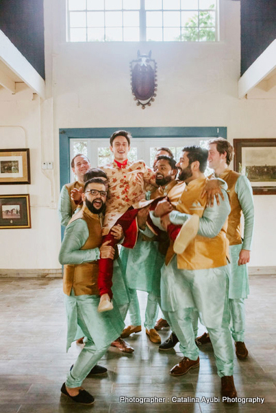 Indian groom enjyoing with indian groomsman