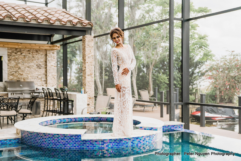 Indian Bride at Swimming Pool Capture