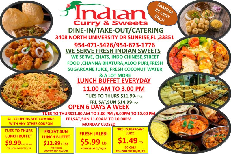 Come to Indian Curry & Sweets in Sunrise, Fl for Great Food