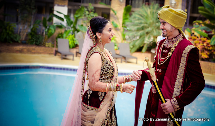 Outdoor photoshoot of Indian Bride and Groom