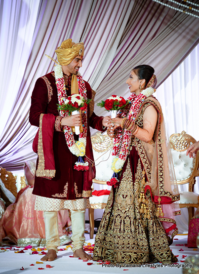 Groom and bride after the garland exchange ceremony
