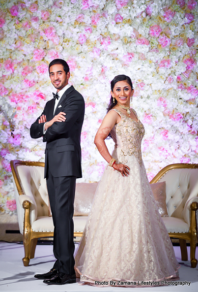 Gorgeous Indian Couple posing at the reception