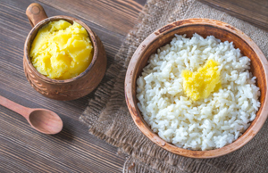Ghee, clarified butter, is a good substitute for cooking oil and is frequently used in Indian and Middle Eastern recipes