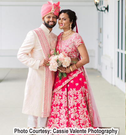 Gorgeous indian Wedding Couple in baby pink Color