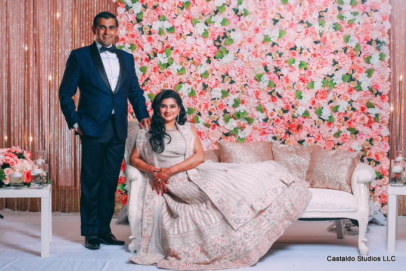 Indian Bride and Groom Posing for a photo